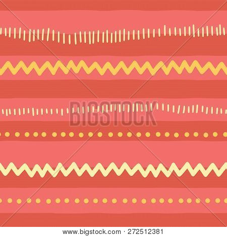 Seamless Vector Doodle Pattern Abstract Horizontal Lines, Zigzag, Dots, Stripes. Red Pink Yellow Tri
