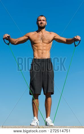 My Goal Is Health. Muscular Man Athlete With Strong Body Workout With Sport Equipment Outdoors. Athl