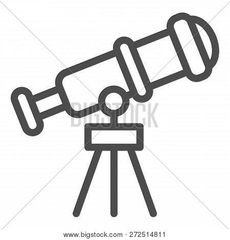 Telescope Line Icon. Spyglass Vector Illustration Isolated On White. Ocular Outline Style Design, De