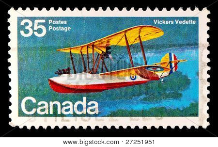 CANADA - CIRCA 1994: A stamp printed in Canada shows image of a Vickers Vedette flying boat (biplane), circa 1994