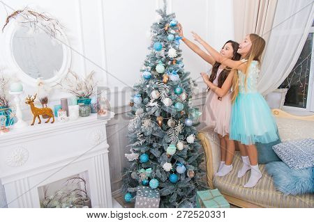 Delivery Christmas Gifts. Happy Little Girls Sisters Celebrate Winter Holiday. Christmas Time. Happy