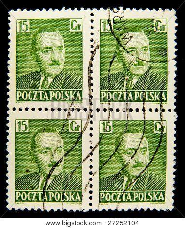 POLAND - CIRCA 1950: A stamp printed in Poland shows Boleslaw Bierut, circa 1950