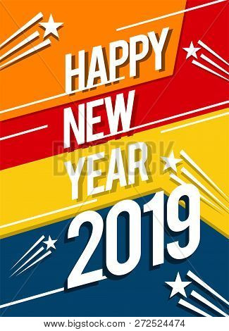 Happy New Year 2019, 2019 Background, Illustration, New Year 2019, Colorfull Numbers, New Year 2019