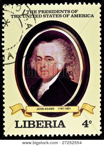 "LIBERIA - CIRCA 2000s: A stamp printed in Liberia shows President John Adams, circa 2000s. ""All USA Presidents"" series."