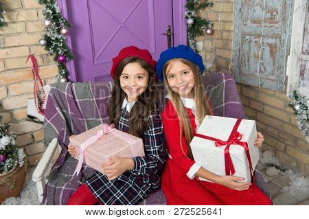 Love Is In The Air. Happy Little Girls Sisters Celebrate Winter Holiday. Happy New Year. Christmas T