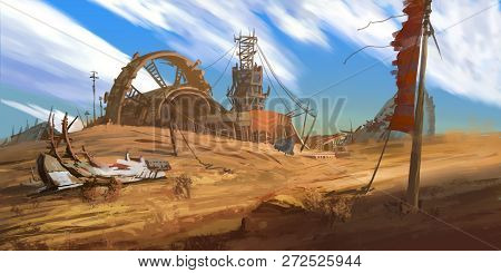 Abandoned Factory. Abandoned Mine Pit. Fiction Backdrop. Concept Art. Realistic Illustration. Video