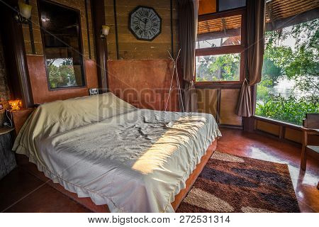 Old Retro Thai Style Of Wooden Bedroom, Home Decor In Thailand