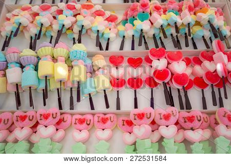 Colorful Marshmallows Stick In The White Box, The Candy Sweet For Kids