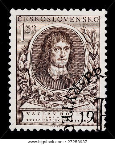 CZECHOSLOVAKIA - CIRCA 1977: A postage stamp printed in Czechoslovakia shows Vaclav Hollar, Czech painter and schedule, circa 1977