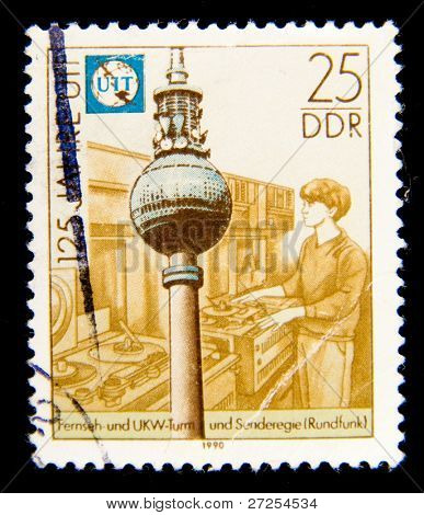GERMAN DEMOCRATIC REPUBLIC - CIRCA 1990: A stamp printed in GDR (East Germany) shows VHF antenna, circa 1990