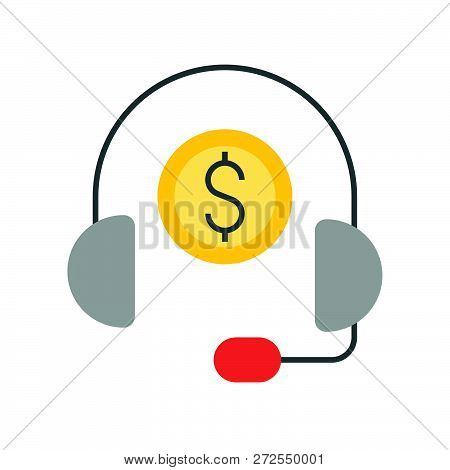 Headphone And Coin, Personal Financial Consultant Service, Bank And Financial Related Icon