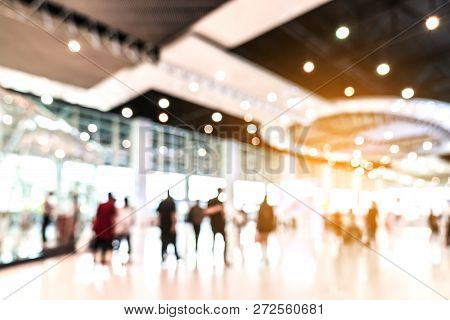 Abstract Blurred Defocused Tradeshow Event Exhibition, Business Convention Show, Job Fair, Technolog
