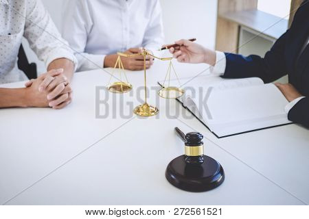 Teamwork Of Business Lawyer Colleagues, Having Meeting With Team At Law Firm, Consultation And Confe