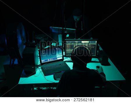 Internet Fraud, Darknet, Data Thiefs, Cybergrime Concept. Hacker Attack On Government Server. Danger