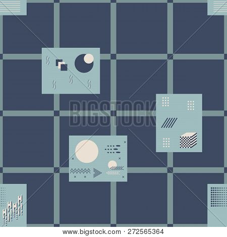 Bandanna Patchwork Pattern Of Geometric Elements In Memphis Style.
