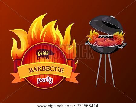 Grill Party Barbecue And Roaster With Grill Grid And Sausages On Fire. Frying Pan With Fire And Text