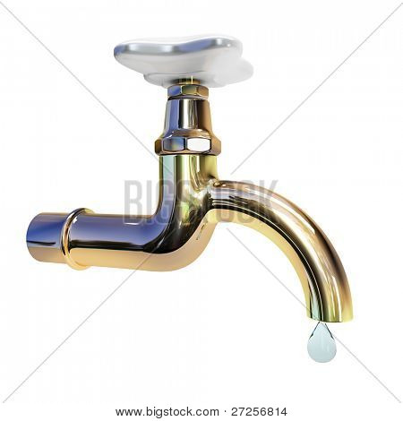 3d tap with drop of water isolated on white background