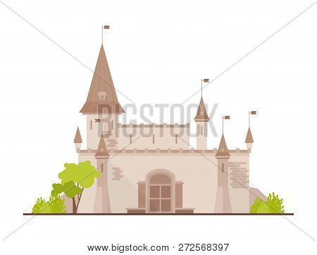 Romantic Castle, Fortress Or Stronghold With Towers And Gate Isolated On White Background. Facade Of