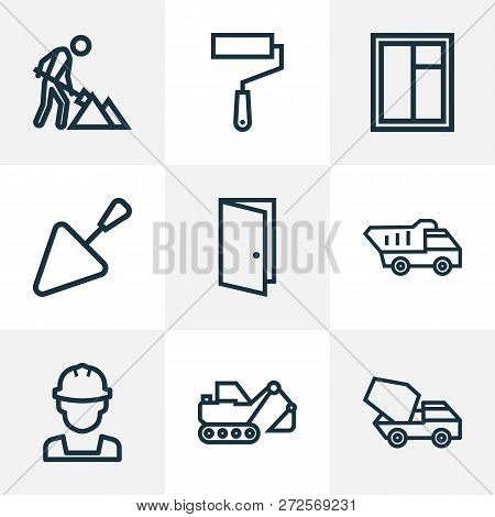 Construction Icons Line Style Set With Glass Frame, Cement Vehicle, Engineer And Other Wall Painter