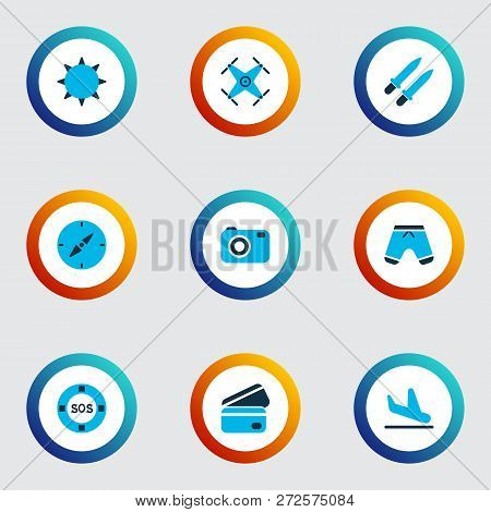 Travel Icons Colored Set With Plane Landing, The Sun, Credit Card Lifeguard Elements. Isolated  Illu