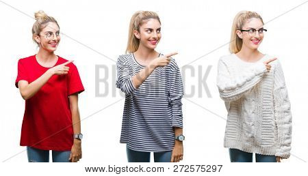 Collage of young beautiful blonde woman over isolated background cheerful with a smile of face pointing with hand and finger up to the side with happy and natural expression on face