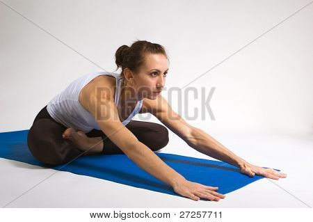 set of young attractive yoga girl doing exercise. 23 of 116 poster