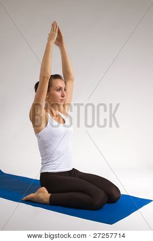 set of young attractive yoga girl doing exercise. 24 of 116 poster