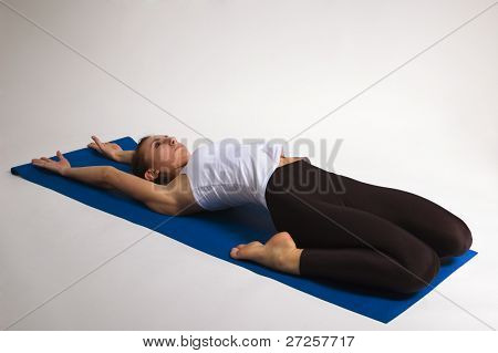 set of young attractive yoga girl doing exercise. 25 of 116 poster