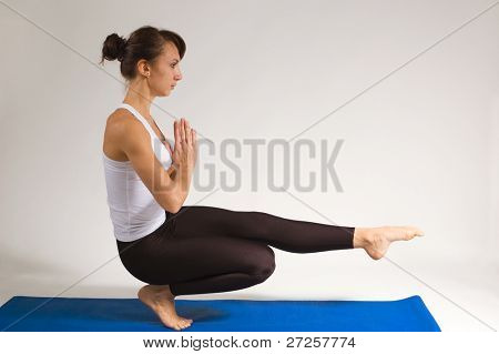 set of young attractive yoga girl doing exercise. 41 of 116 poster
