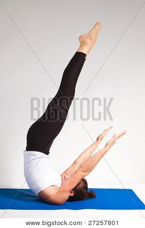 set of young attractive yoga girl doing exercise. 51 of 116 poster