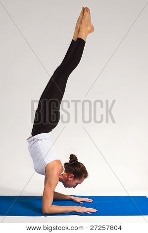 set of young attractive yoga girl doing exercise. 52 of 116 poster