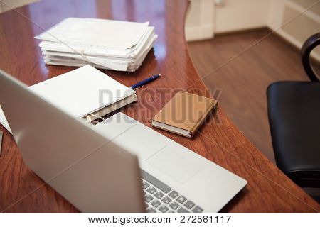 Pile Of Unfinished Documents On Office Desk, Stack Of Business Paper. A File Folders  With Documents
