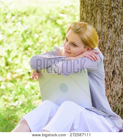 Woman Dreamy With Laptop Work Outdoors. Minute For Dream. Technology And Internet Concept. Dream Abo