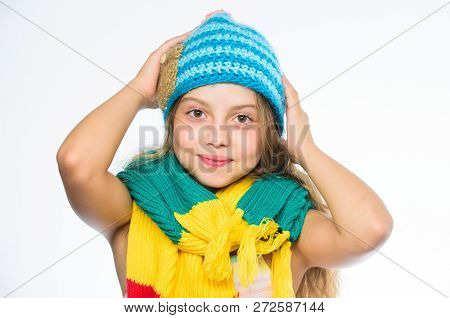 Warm Woolen Accessories. Girl Long Hair Happy Face White Background. Which Fabrics Will Keep You War