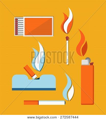 Cigarettes Matches And Cigar Lighter Vector Card, Illustration Isolated On Yellow Background, Flames