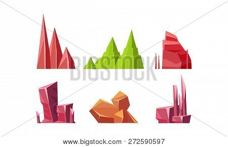 Flat Vector Set Of Colorful Stones. Rocks Of Different Shapes. Solid Mineral Materials. Natural Land