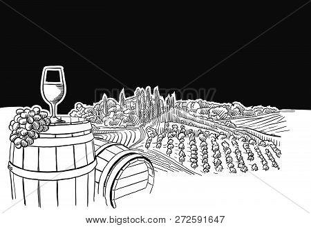 Vineyard Landscape With Glass Scene, Hand-drawn Vector Food Illustration For Vine Label And Social M
