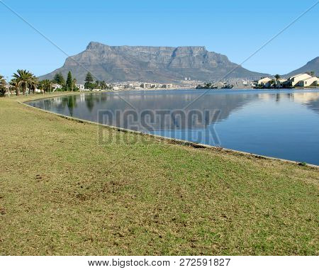 From The Milnerton Lagoon, Cape Town, South Africa, On A  Clear Summer Day, With A Clear View Of Tab