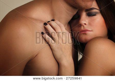 couple heterosexual in love studio shot