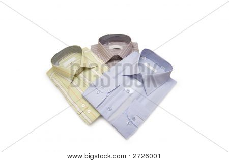 Striped Shirts Isolated On The White Background