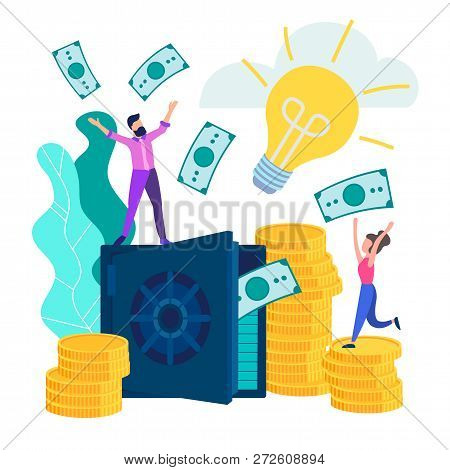Young People Employees Happy Monetary Gain And The Accumulation, A Good Contribution. Safe With Bank