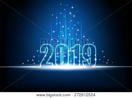 Happy New Year 2019, Futuristic Technology Abstract With Glowing Neon Light With Shiny Beam And Spar