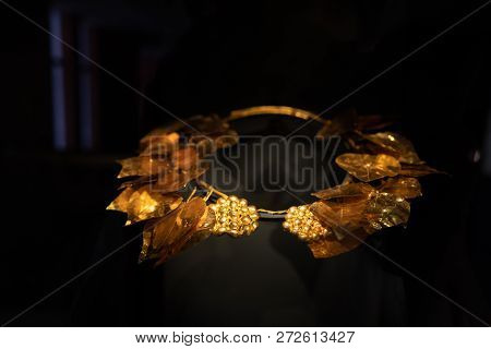 Beautiful Ancient Greek Tiara On A Black Background