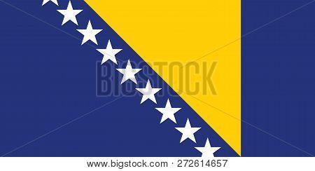 Vector Image Of Bosnia And Herzegovina Flag. Based On The Official And Exact Herzegovina Flag Dimens