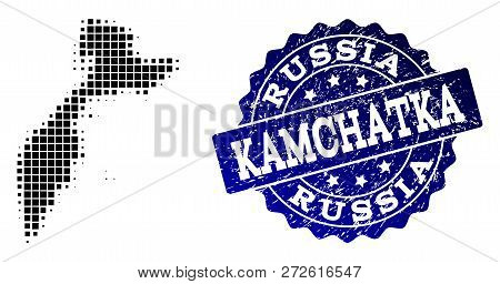 Geographic Collage Of Dot Map Of Kamchatka Peninsula And Blue Grunge Stamp Watermark. Halftone Vecto