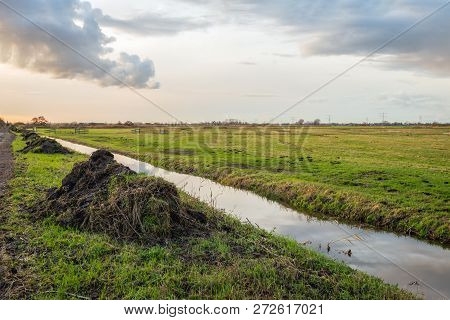 Heaps Of Plant Remains And Other Waste After Dredging The Polders Ditch. Periodic Maintenance Of The
