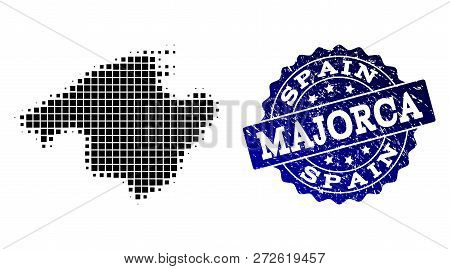 Geographic Collage Of Dot Map Of Majorca And Blue Grunge Stamp Watermark. Halftone Vector Map Of Maj
