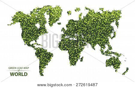 World Map Made Up Of Green Leaf On White Background Vector  Illustration Of A Forest Is Conceptual O