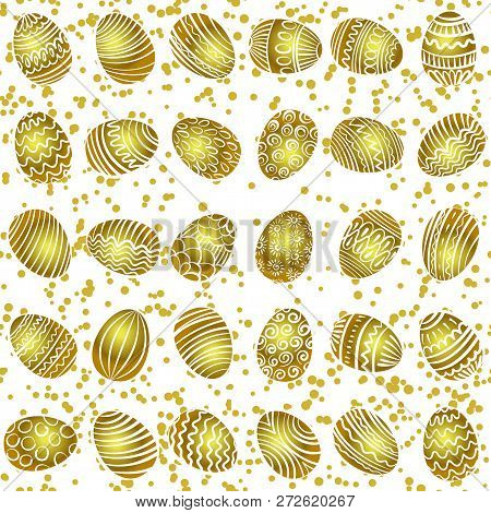 Seamless Vector Pattern With Hand Drawing Eggs. Easter Holiday Background Of Doodle Holiday Symbol