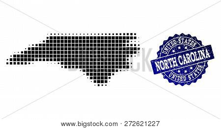 Geographic Composition Of Dot Map Of North Carolina State And Blue Grunge Seal Imprint. Halftone Vec